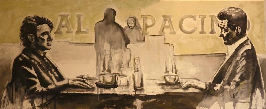"Szene aus dem Film Heat mit Al Pacino und Robert de Niro. ""Al Pacino"" 160 x 70 cm Acryl auf Leinwand"